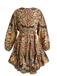 Rhode Resort Ella Fluted Hem Cotton Dress Brown Multi