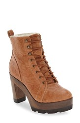 Kelsi Dagger Women's Brooklyn 'Farren Vintage' Platform Bootie Tan Leather