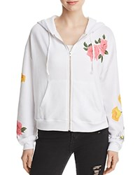 Wildfox Couture Floral Zip Front Hoodie Sweatshirt Clean White