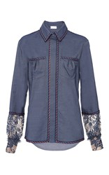 Alexis Mabille Chambray Button Up Shirt Blue