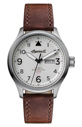 Ingersoll Watches Men's Bateman Automatic Leather Strap Watch 45Mm Brown White Silver