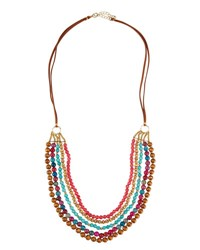 Panacea Long Multi Row Agate And Wood Beaded Necklace