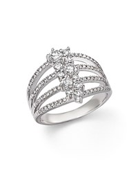 Bloomingdale's Diamond Multi Row Cluster Ring In 14K White Gold 1.0 Ct. T.W.