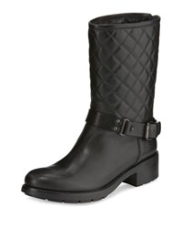Aquatalia By Marvin K Sage Quilted Moto Bootie Black