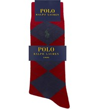 Polo Ralph Lauren Pony Cotton Blend Socks Pack Of Three Navy Red
