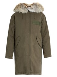 Yves Salomon Fur Trimmed Cotton Canvas Parka Khaki