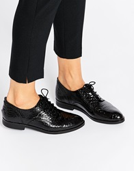 Bronx Snake Effect Patent Leather Slip On Shoes Black
