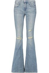 Current Elliott The Low Bell Distressed Low Rise Flared Jeans Light Denim