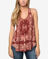 O'neill Juniors' Rory Printed Top A Macy's Exclusive Dark Red