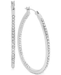Touch Of Silver Medium Oval Crystal Hoop Earrings In Silver Plated Brass