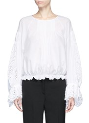 Chloe Pineapple Broderie Anglaise Bell Sleeve Blouse White