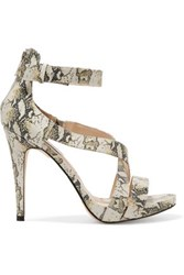 Lucy Choi London Cole Snake Effect Leather Sandals Animal Print