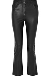 Stand Avery Cropped Leather Flared Pants Black