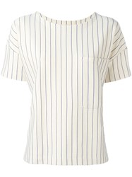 Bellerose Pinstripe Pocket Blouse Nude Neutrals