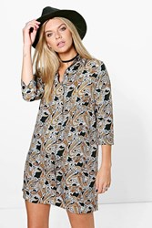 Boohoo Bernadette Paisley Shirt Dress Black
