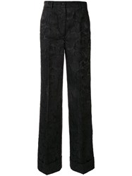 Dolce And Gabbana Jacquard Wide Lg Trousers Black