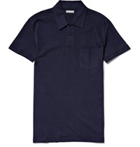 Sunspel Riviera Cotton Mesh Polo Shirt Blue