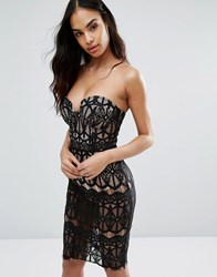Rare London Sheer Lace Pencil Dress With Bust Cup Detail Black Nude