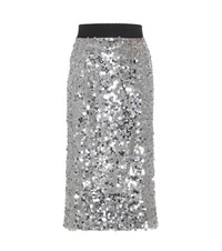 Dolce And Gabbana Sequinned Skirt Silver