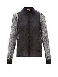 N 21 No. Lace And Silk Organza Blouse Black