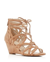 Kenneth Cole Dyan Caged Lace Up Wedge Sandals Buff