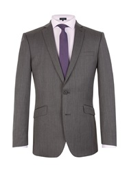 Racing Green Herringbone Notch Collar Tailored Fit Suit Jacket Charcoal