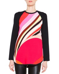 Emilio Pucci Long Sleeve Printed Colorblock Tunic
