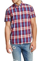 Lucky Brand Regular Fit Short Sleeve Western Check Shirt Red