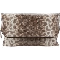 Zagliani Capriccio Python Clutch Light Gray