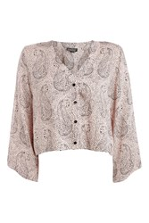 Topshop Petite Hidden Tiger Print Top Pink