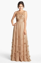 Js Collections Floral Applique Chiffon Gown Champagne