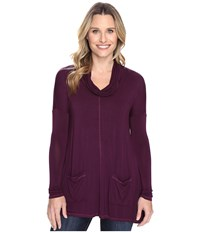 Mod O Doc Rayon Spandex Jersey Pullover Cowl Funnel Tunic Spiced Plum Women's Clothing Purple
