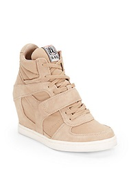 Ash Suede And Canvas Wedge High Top Sneakers Chamois