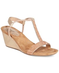 Styleandco. Style Co. Mulan 2 Embellished Evening Wedge Sandals Only At Macy's Women's Shoes Rose Gold