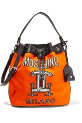 Moschino Printed Leather Trimmed Shell Shoulder Bag Bright Orange