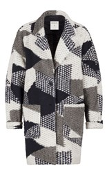 Sandwich Jacquard Coat Multi Coloured