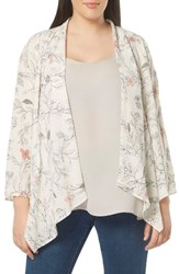 Evans Plus Size Women's Floral Print Kimono Jacket Dark Multi