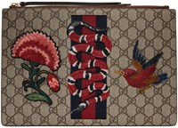 Gucci Brown Gg Supreme Snake And Flower Pouch