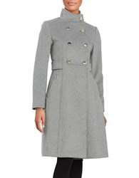 Eliza J Double Breasted Wool Blend Coat Light Grey