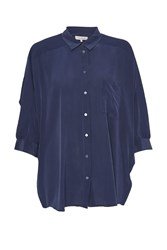 Great Plains Sophie Silk Batwing Sleeves Shirt Navy