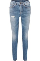 Saint Laurent Distressed Low Rise Skinny Jeans Blue