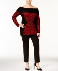 Inc International Concepts Off The Shoulder Tunic Sweater Created For Macy's Real Red