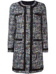 Boutique Moschino Quilted Lining Tweedy Coat Multicolour