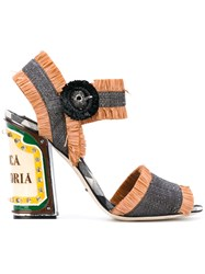 Dolce And Gabbana Keira Sandals With Bright Leds Women Cotton Leather Viscose Rubber 37 Grey