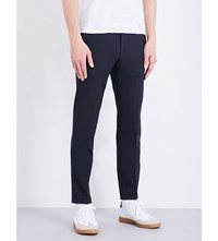 Sandro Smart Tapered Wool Blend Trousers Navy Blue