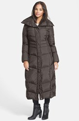 Women's Cole Haan Long Down And Feather Fill Coat Chocolate