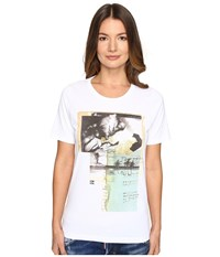 Dsquared Liza Glitter Faced Couple Jersey Tee White Women's T Shirt