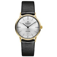 Hamilton H38475751 Men's Intra Matic Date Leather Strap Watch Black Silver
