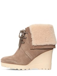 See By Chloe 90Mm Rachel Suede And Fur Ankle Boots Taupe