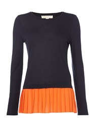 Michael Kors Longsleeve Pleated Woven Top Poppy